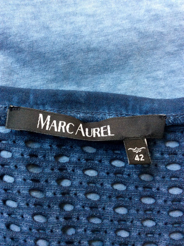 MARC AUREL BLUE 'LAID BACK DAYS' SHORT SLEEVE T SHIRT TOP SIZE 42 UK 14