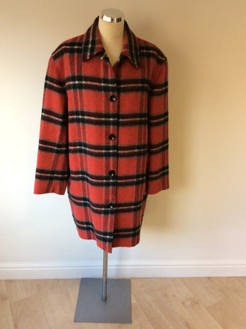 LIZ CLAIBOURNE RED CHECK WOOL BLEND COAT SIZE M - Whispers Dress Agency - Womens Coats & Jackets - 1
