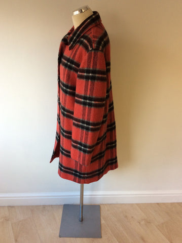 LIZ CLAIBOURNE RED CHECK WOOL BLEND COAT SIZE M - Whispers Dress Agency - Womens Coats & Jackets - 2