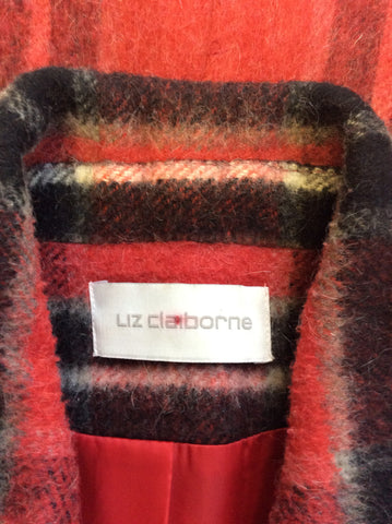 LIZ CLAIBOURNE RED CHECK WOOL BLEND COAT SIZE M - Whispers Dress Agency - Womens Coats & Jackets - 4