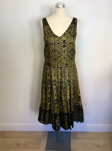 WHISTLES GREEN & BROWN PRINT SPECIAL OCCASION DRESS SIZE 10