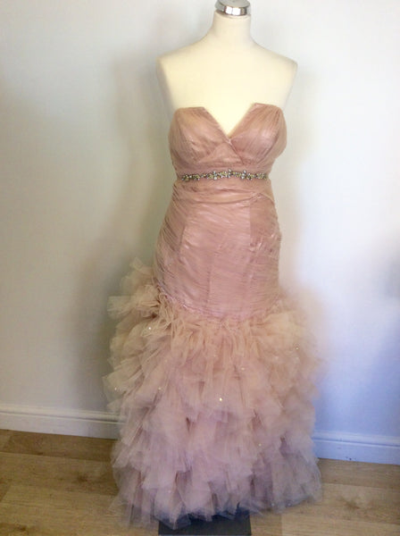 HANIELS PALE PINK NET OVERLAY STRAPLESS PROM/ EVENING DRESS SIZE 6