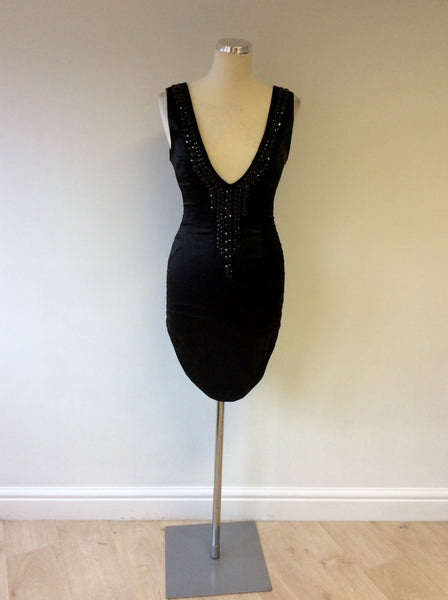 ARROGANT CAT BLACK JEWEL TRIM BODYCON DRESS SIZE 8