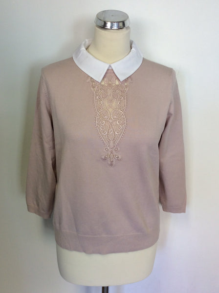 KAREN MILLEN PALE PINK/ NUDE WITH WHITE COLLARED JUMPER SIZE L