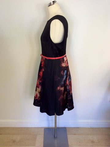 TED BAKER BLACK & FLORAL PRINT DRESS SIZE 4 UK 14