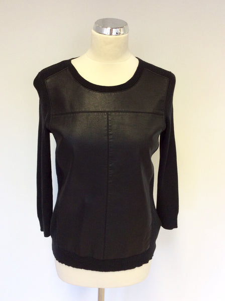 BANANA REPUBLIC BLACK FAUX LEATHER FRONT JUMPERS SIZE M - Whispers Dress Agency - Sold - 1