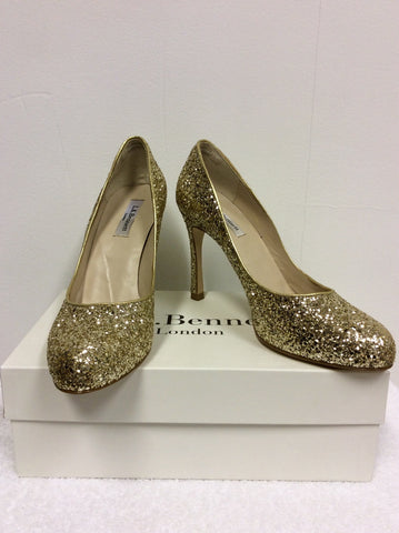 BRAND NEW LK BENNETT DOTTIE GOLD GLITTER HEELS SIZE 7/40 - Whispers Dress Agency - Womens Heels - 1