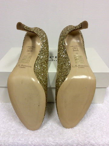 BRAND NEW LK BENNETT DOTTIE GOLD GLITTER HEELS SIZE 7/40 - Whispers Dress Agency - Womens Heels - 5
