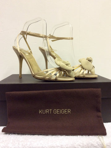 KURT GEIGER LUXE CHAMPAGNE SATIN FLOWER FRONT SANDALS SIZE 6/39 - Whispers Dress Agency - Womens Sandals - 3