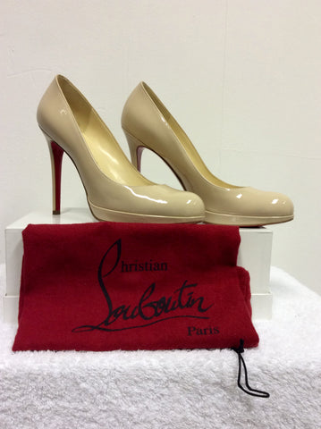 BRAND NEW CHRISTIAN LOUBOUTIN CREAM PATENT LEATHER HEELS SIZE 6/39 - Whispers Dress Agency - Womens Heels - 1