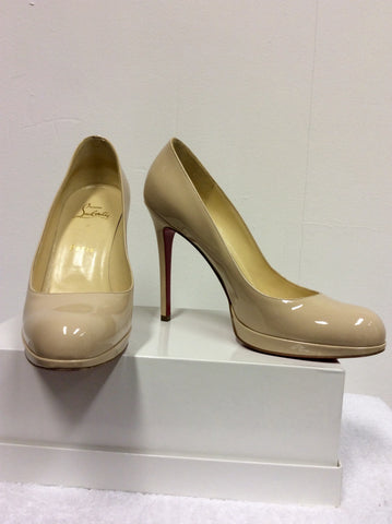 BRAND NEW CHRISTIAN LOUBOUTIN CREAM PATENT LEATHER HEELS SIZE 6/39 - Whispers Dress Agency - Womens Heels - 2