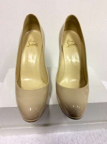 BRAND NEW CHRISTIAN LOUBOUTIN CREAM PATENT LEATHER HEELS SIZE 6/39 - Whispers Dress Agency - Womens Heels - 3