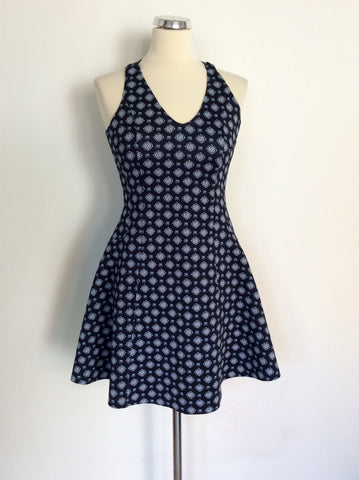 ABERCROMBIE & FITCH DARK BLUE PRINT SKATER DRESS SIZE M