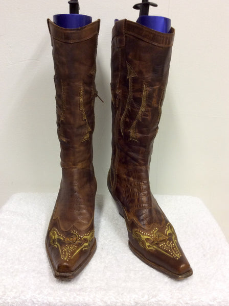 ANDREA MODA BROWN LEATHER COWBOY BOOTS SIZE 6/39 - Whispers Dress Agency - Sold - 1
