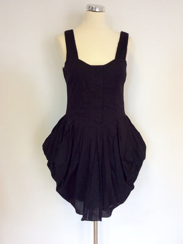 All Saints Black Cotton Beaujolais Dress Size 10