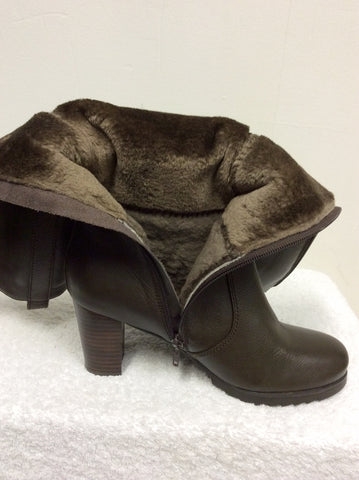 BRAND NEW NATURALIZER BROWN FUR LINED BOOTS SIZE 6.5/40 - Whispers Dress Agency - Womens Boots - 7
