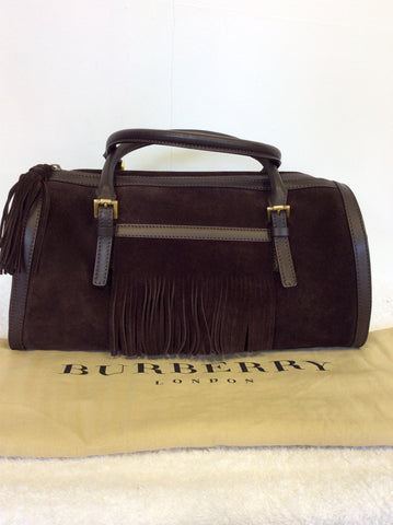 BURBERRY DARK BROWN SUEDE & LEATHER TRIM FRINGED HAND BAG - Whispers Dress Agency - Handbags - 1