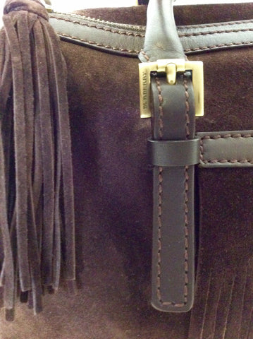 BURBERRY DARK BROWN SUEDE & LEATHER TRIM FRINGED HAND BAG - Whispers Dress Agency - Handbags - 2