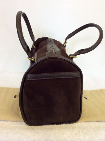 BURBERRY DARK BROWN SUEDE & LEATHER TRIM FRINGED HAND BAG - Whispers Dress Agency - Handbags - 3