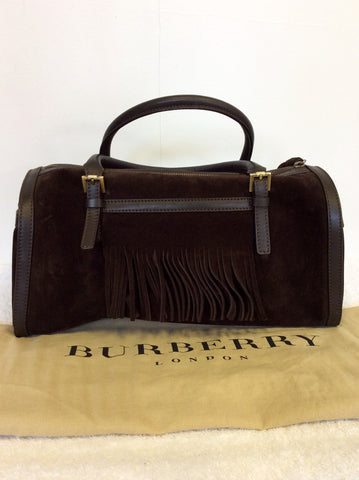 BURBERRY DARK BROWN SUEDE & LEATHER TRIM FRINGED HAND BAG - Whispers Dress Agency - Handbags - 4
