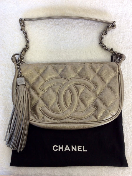 AUTHENTIC CHANEL PLATINUM LEATHER QUILTED TASSEL TRIM SHOULDER BAG - Whispers Dress Agency - Shoulder Bags - 1