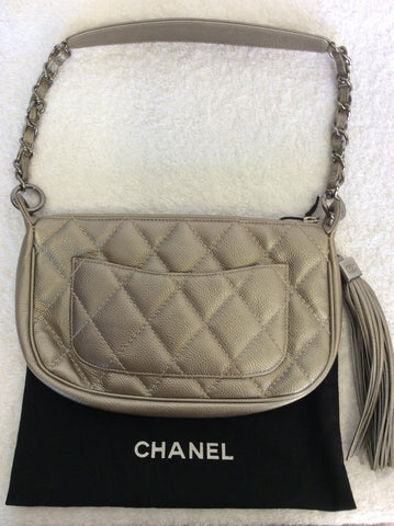 AUTHENTIC CHANEL PLATINUM LEATHER QUILTED TASSEL TRIM SHOULDER BAG - Whispers Dress Agency - Shoulder Bags - 2