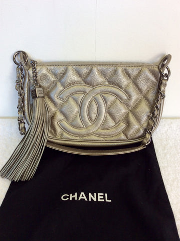 AUTHENTIC CHANEL PLATINUM LEATHER QUILTED TASSEL TRIM SHOULDER BAG - Whispers Dress Agency - Shoulder Bags - 3