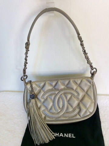 AUTHENTIC CHANEL PLATINUM LEATHER QUILTED TASSEL TRIM SHOULDER BAG - Whispers Dress Agency - Shoulder Bags - 4