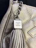 AUTHENTIC CHANEL PLATINUM LEATHER QUILTED TASSEL TRIM SHOULDER BAG - Whispers Dress Agency - Shoulder Bags - 5