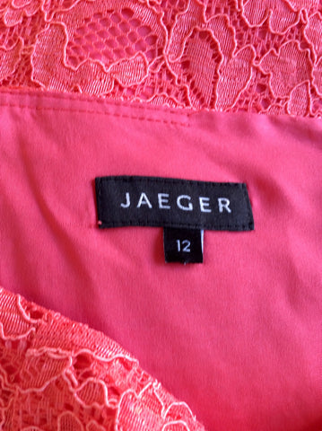 BRAND NEW JAEGER CORAL LACE PENCIL SKIRT SIZE 12