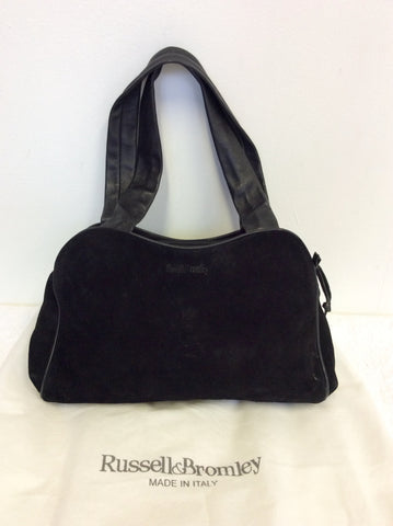 RUSSELL & BROMLEY BLACK SUEDE & LEATHER SHOULDER BAG - Whispers Dress Agency - Sold - 3
