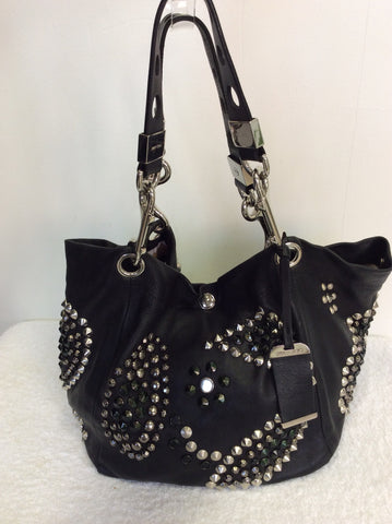 JIMMY CHOO BLACK LARGE LEATHER STUDDED SHOULDER BAG - Whispers Dress Agency - Shoulder Bags - 3