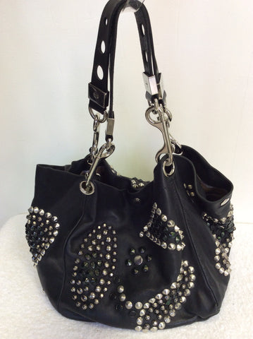 JIMMY CHOO BLACK LARGE LEATHER STUDDED SHOULDER BAG - Whispers Dress Agency - Shoulder Bags - 1