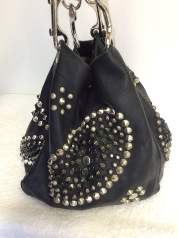 JIMMY CHOO BLACK LARGE LEATHER STUDDED SHOULDER BAG - Whispers Dress Agency - Shoulder Bags - 4