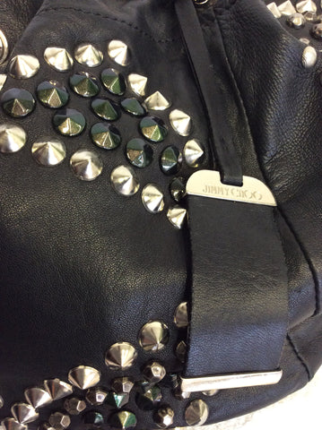 JIMMY CHOO BLACK LARGE LEATHER STUDDED SHOULDER BAG - Whispers Dress Agency - Shoulder Bags - 7