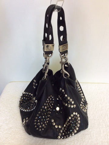 JIMMY CHOO BLACK LARGE LEATHER STUDDED SHOULDER BAG - Whispers Dress Agency - Shoulder Bags - 6