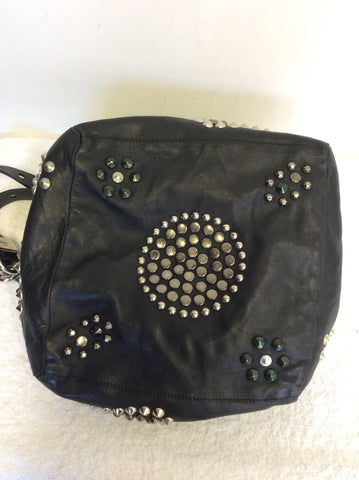 JIMMY CHOO BLACK LARGE LEATHER STUDDED SHOULDER BAG - Whispers Dress Agency - Shoulder Bags - 9