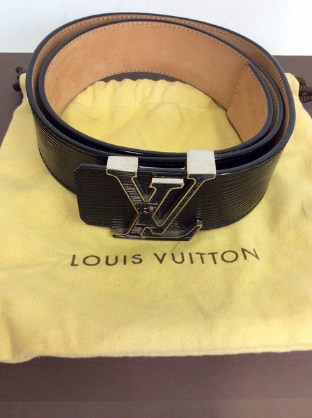 BRAND NEW AUTHENTIC LOUIS VUITTON BLACK EPI LEATHER INITIALS BELT - Whispers Dress Agency - Sold - 1