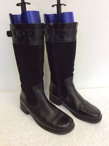 START-RITE BLACK & SUEDE CALF LENGTH BOOTS SIZE 4.5 /37.5 - Whispers Dress Agency - Womens Boots - 1