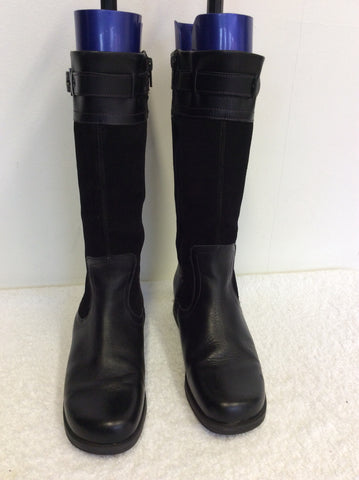 START-RITE BLACK & SUEDE CALF LENGTH BOOTS SIZE 4.5 /37.5 - Whispers Dress Agency - Womens Boots - 2