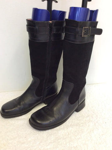 START-RITE BLACK & SUEDE CALF LENGTH BOOTS SIZE 4.5 /37.5 - Whispers Dress Agency - Womens Boots - 3