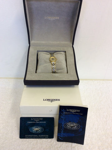 LONGINES LADIES PRESENCE POLISHED STEEL & GOLD PLATED BRACELET WRISTWATCH - Whispers Dress Agency - Womens Jewellery - 1