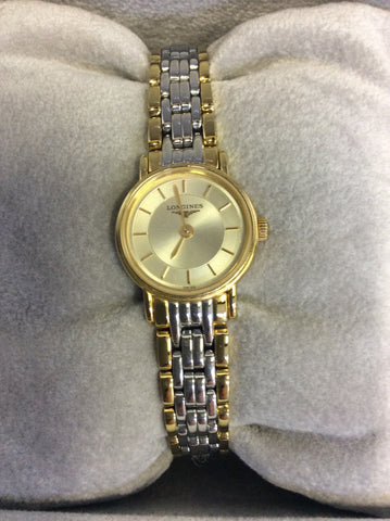 LONGINES LADIES PRESENCE POLISHED STEEL & GOLD PLATED BRACELET WRISTWATCH - Whispers Dress Agency - Womens Jewellery - 2