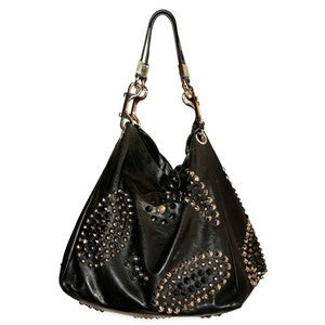 JIMMY CHOO BLACK LARGE LEATHER STUDDED SHOULDER BAG - Whispers Dress Agency - Shoulder Bags - 2