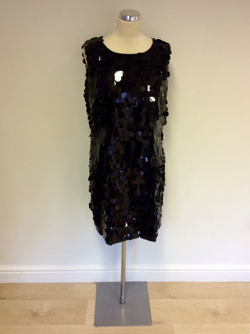 BRAND NEW HOBBS BLACK SEQUINNED COCKTAIL DRESS SIZE 14 - Whispers Dress Agency - Womens Dresses - 1