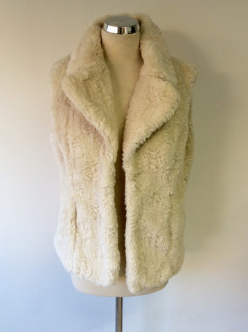 PER UNA CREAM FAUX FUR GILET SIZE M - Whispers Dress Agency - Womens Gilets & Body Warmers - 1