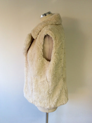 PER UNA CREAM FAUX FUR GILET SIZE M - Whispers Dress Agency - Womens Gilets & Body Warmers - 2