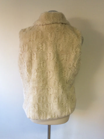PER UNA CREAM FAUX FUR GILET SIZE M - Whispers Dress Agency - Womens Gilets & Body Warmers - 3