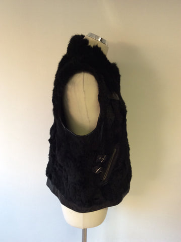 HOLLIES STOCKHOLM BLACK LEATHER & RABBIT FUR GILET SIZE 44 UK 16 - Whispers Dress Agency - Womens Gilets & Body Warmers - 4