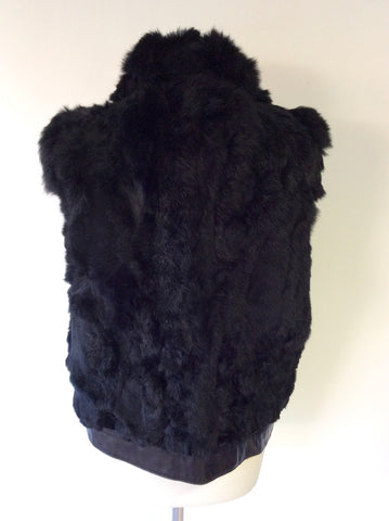 HOLLIES STOCKHOLM BLACK LEATHER & RABBIT FUR GILET SIZE 44 UK 16 - Whispers Dress Agency - Womens Gilets & Body Warmers - 5
